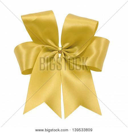 Beautiful Gold Bow From Satin Ribbon