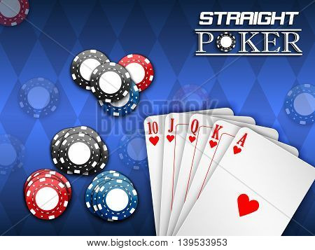 Illustration of Royal flush and poker chips on a blue background