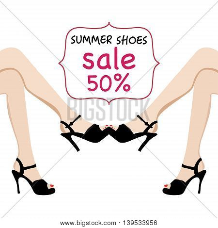 Vector illustration of woman legs in black fashion shoes sale banner. Hand-drawn illustrations Spring-summer fashion collection.