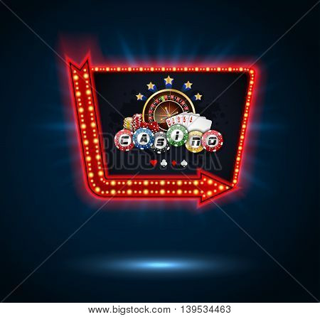 Shining Casino Party Banner with playing cards, roulette wheel and chips