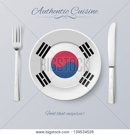 Authentic Cuisine of South Korea. Plate with South Korean Flag and Cutlery
