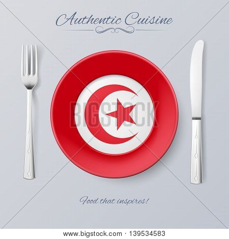 Authentic Cuisine of Tunisia. Plate with Tunisian Flag and Cutlery