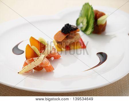 Shrimp dessert on white plate in asian restaurant