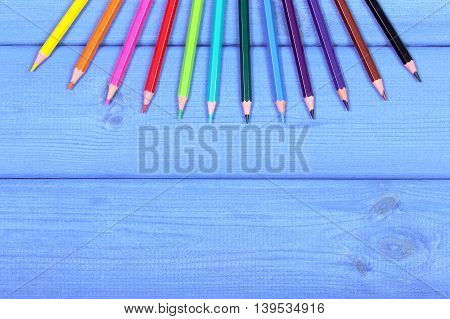 Colorful Crayons On Boards, School Accessories, Copy Space For Text