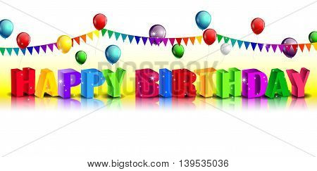 Realistic colorful happy Birthday background with balloon
