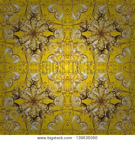 Abstract pattern on yellow background with floral golden elements. Vector illustration. Pattern background.