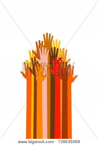 Many colored and different races hands in the form sign of raised up arrow pointer cursor signpost indicator. Vector illustration on white background. Upwards power arms.