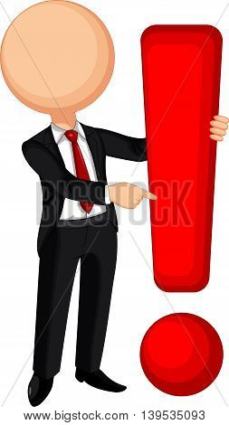 cute businessman cartoon with warning a signs