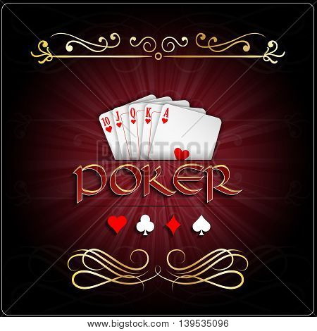 Illustration of Poker cards with straight flush hearts