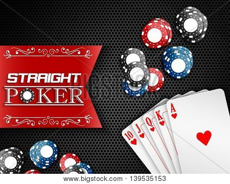 Royal flush with poker chips and labels on a black background