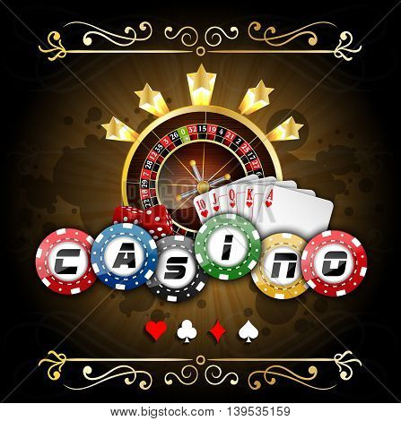 Illustration of Playing cards with poker chips and roulette wheel