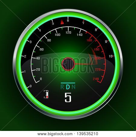 Illustration of Speedometer isolated on dark green