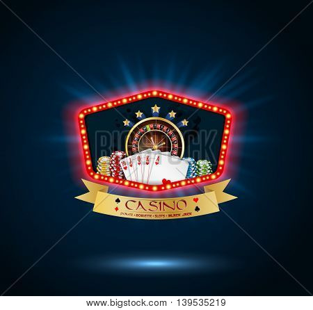 Illustration of Shining Casino Party Banner with playing cards, roulette wheel and chips