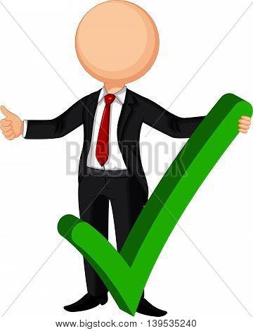 cute Businessman cartoon making a right decision