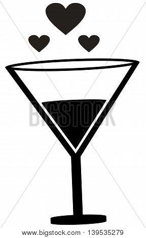 Champagne love icon celebratory toast heart shape wine