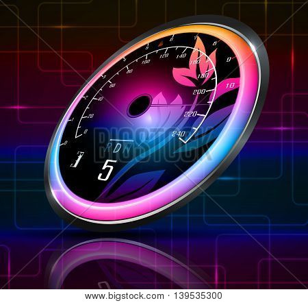 Illustration of Speedometer abstract on relaistic background