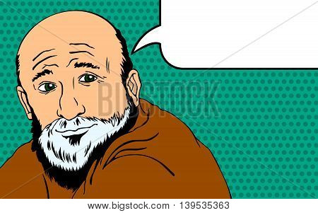 Wise old man expresses his thoughts. Style Pop Art