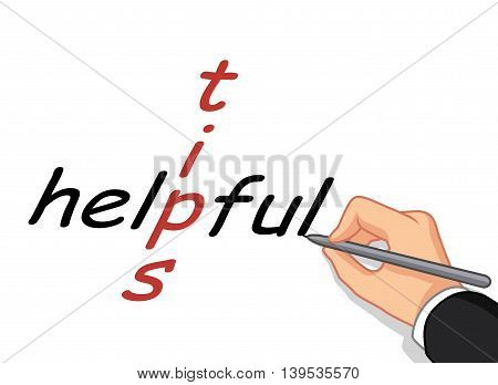 male hand cartoon writing tips helpful for you design