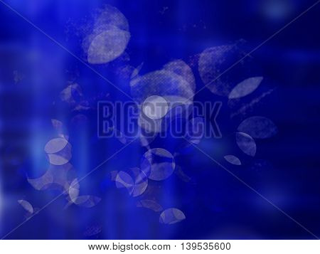Lights on blue background bokeh effect blur