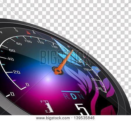 Illustration of Speedometer and arrow on 160