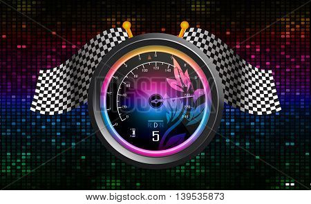 Illustration of Speedometer with flags abstract background