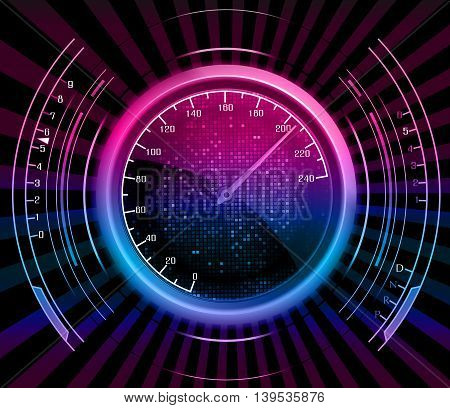 Illustration of Speedometer Background with effect neon