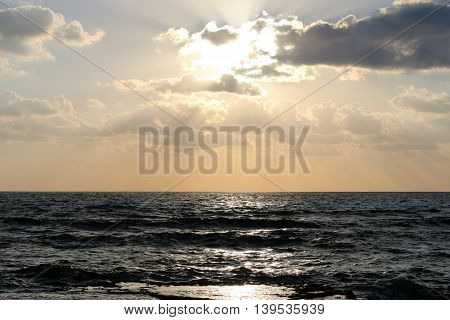 Sunset on the Mediterranean Sea in the north of the State of Israel