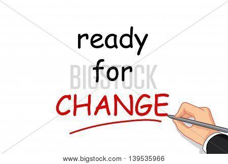 cute hand cartoon writing ready for change