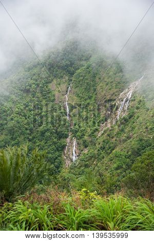 Pre To Lo Su or Pi Tu Kro waterfall (Heart-shaped waterfall) Umphang Tak ,Thailand. View from Ma Muang Sam Muen mountain.