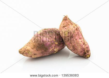 Close up sweet potato on the white background.