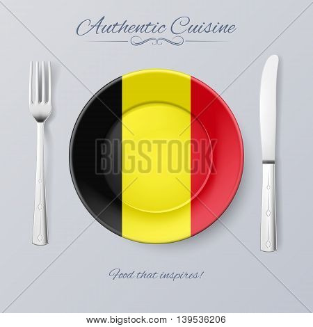 Authentic Cuisine of Belgium. Plate with Belgian Flag and Cutlery