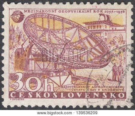 MOSCOW RUSSIA - CIRCA JANUARY 2016: a post stamp printed in CZECHOSLOVAKIA shows a Radio-telescope and Observatory the series