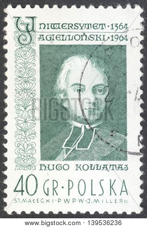 MOSCOW RUSSIA - JANUARY 2016: a post stamp printed in POLAND shows a portrait of Hugo Kollataj the series
