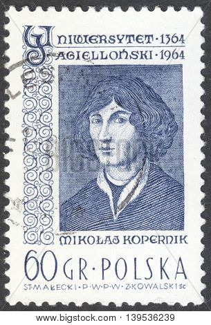 MOSCOW RUSSIA - JANUARY 2016: a post stamp printed in POLAND shows a portrait of M.Kopernik the series