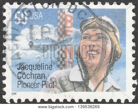 MOSCOW RUSSIA - JANUARY 2016: a post stamp printed in the USA shows a portrait of Jacqueline Cochran circa 1966