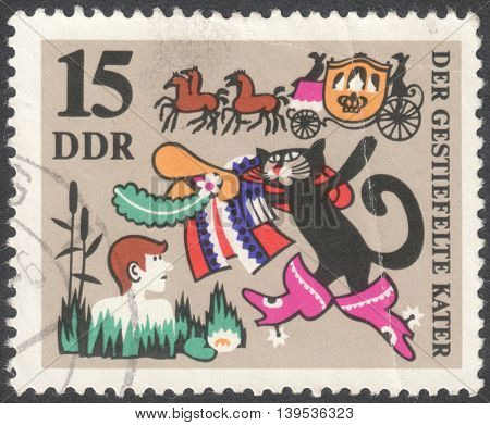 MOSCOW RUSSIA - CIRCA JANUARY 2016: a post stamp printed in DDR shows an illustration of fairy tales the series