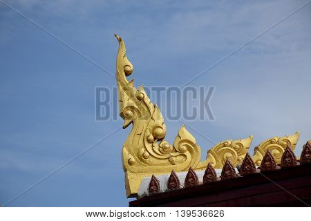 ornament and detail of architectural temple in Thailand. Religious place.