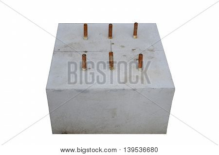 A Concrete foundation in isolated. Construction building.