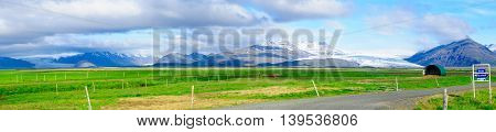 Countryside And Glacier View In Iceland