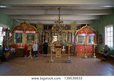 PSKOV REGION, RUSSIA - MAY 07, 2016: The interior of the old Church of St. Barbara. Religious landmark  of the Pechory, Pskov region, Russia