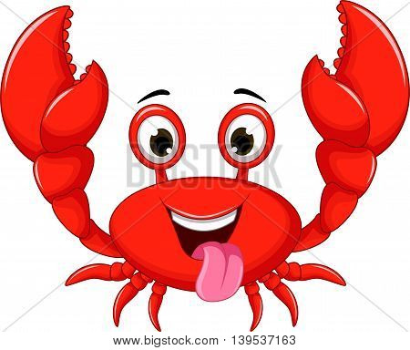 funny cartoon crab posing for you design