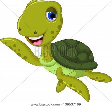 sea turtle cartoon waving for you design
