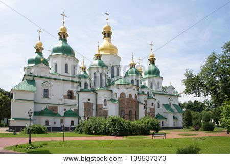Sunny summer day at the old St. Sophia Cathedral. Kiev, Ukraine