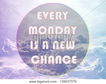 Every Monday Is A New Chance. Inspirational Quote In Circle On Colorful Sky With Clouds Background.