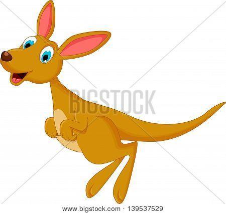 cute cartoon kangaroo jumping for you design