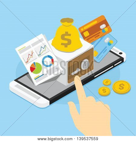 mobile banking with safe illustration vector design concept