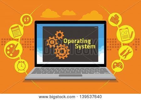 OS operating system on laptop vector illustration