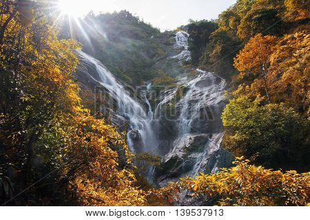 Pre To Lo Su or Pi Tu Kro waterfall (Heart-shaped waterfall) Umphang Tak ,Thailand. Autumn Scene.