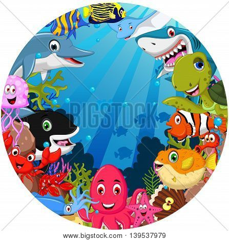 set of funny sea animals cartoon posing