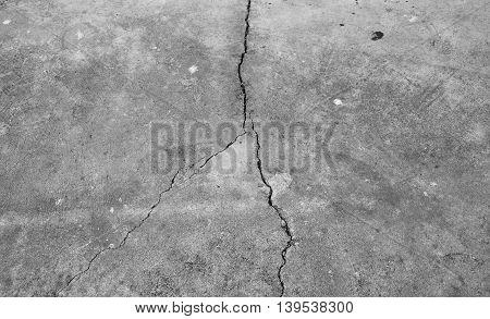 Crack in the concrete floor. Danger of texture.